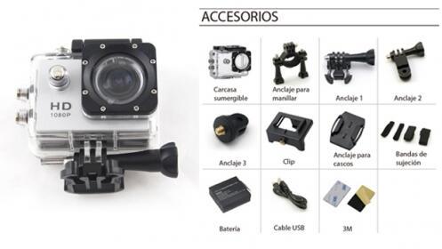 Videocámara Deportiva FULL HD + Accesorios