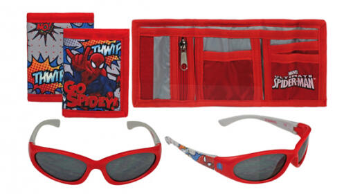 Set pequeño de Frozen o Spiderman: monedero + gafas de sol